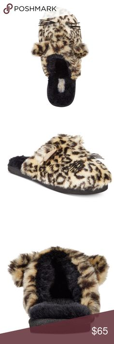 Kate Spade Cat Slippers Kate Spade Cat Slippers. Faux fur lining. Round toe slip ons. Cat face detail at toe. Acrylic upper. Man made sole. Cat ears and whiskers. kate spade Shoes Slippers