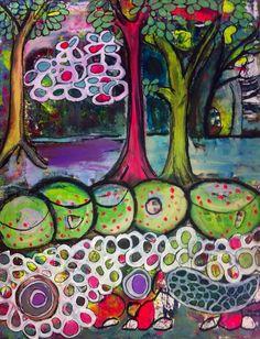 Magic forest Acrylic on canvas 70x90 cm by Lene Kjeldsen