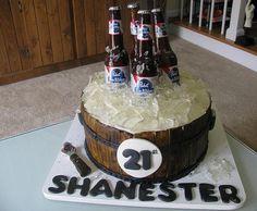 """Sugar Beer Bottles (!!!) and isomalt ice in this """"keg cake"""""""