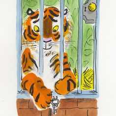 'The tiger reached out one big paw.' From Gracie Grabbit and the Tiger, out in Oct. Helen Stephens Illustrator Children's Books.