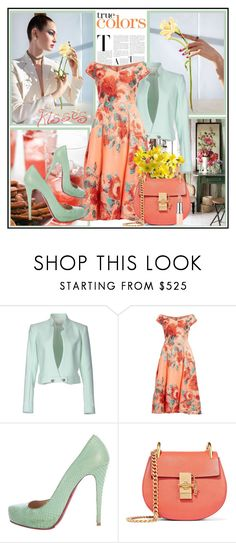 """Mint and Peach !"" by fantasy-rose ❤ liked on Polyvore featuring Thierry Mugler, Lela Rose, Christian Louboutin, Chloé, Rimmel, peach, Leather, mint, floraldress and Spring2017"