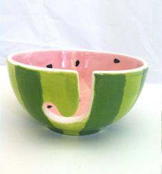Watermelon Yarn Bowl  Ceramic  Hand Painted by ShadyLaneCeramics, $25.00