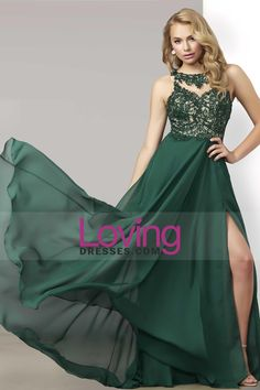 2016 Scoop Prom Dresses A Line Chiffon With Applique And Beads Sweep Train