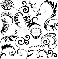 Art déco, Décoration de Fête, Motif floral, Feuille, Image en noir et blanc Illustration vectorielle libre de droits