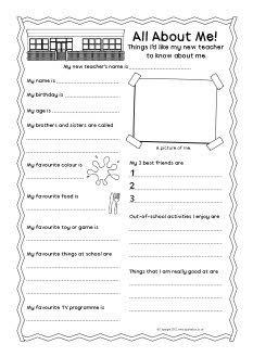 New teacher 'all about me' pupil information sheet (SB8490) - SparkleBox