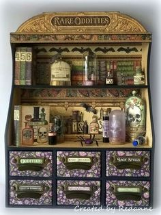 Haunted Graphic 45 Sizzix Candy Drawer Apothecary Cabinet by Anne Redfern Graphic 45, Altered Boxes, Altered Art, Halloween Shadow Box, Paper Art, Paper Crafts, Papel Scrapbook, Potion Bottle, Diy Box