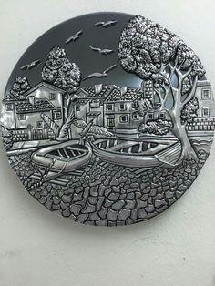 Correo: María Angelica Brouwer de Koning - Outlook Tin Foil Art, Tin Art, Pewter Art, Pewter Metal, Clay Wall Art, Clay Art, Metal Projects, Metal Crafts, Feuille Aluminium Art