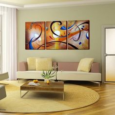 Transform a wall of your house into a gallery with this piece of colorful, large canvas art. This canvas is entitled Happiness Abstract and is constructed from three separate canvas panels that come together to deliver a cohesive, contemporary image.