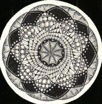 Zentangle Zendala #3, created by   C. Bishop, CZT