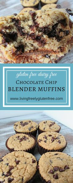 Delicious and easy Gluten Free and Dairy Free Chocolate Chip Blender Muffins. Perfect for snacks, breakfast and lunch boxes. Easy Gluten Free Desserts, Gluten Free Recipes For Breakfast, Best Gluten Free Recipes, Gluten Free Muffins, Gluten Free Breakfasts, Gluten Free Cakes, Brunch Recipes, Bread Recipes, Yummy Healthy Snacks
