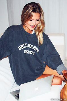 Cozy up with our softest sweatshirt! Exclusively for Delta Gamma Kappa Kappa Gamma, Alpha Xi Delta, Tri Delta, Alpha Chi Omega, Kappa Delta, Delta Gamma Crafts, Phi Mu, Sorority Life, Sorority Shirts