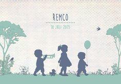 Geboortekaartje Remco - Pimpelpluis - https://www.facebook.com/pages/Pimpelpluis/188675421305550?ref=hl (# broertje - zusje - broer - zus -  kindjes - lief - silhouet  - eendje - vogel - trompet - muziek - gras - origineel)