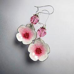 Pink flower earrings, enamel jewelry, bohemian jewelry, sweet pink dangle earrings on Etsy, $37.00