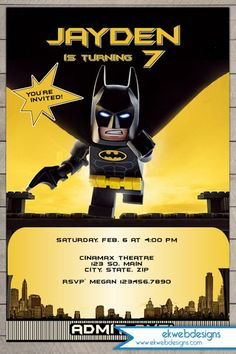 Lego Batman Movie 2017 Birthday Invitation