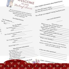 Relief Society Welcome Packet this is the most amazing idea! Our last ward in Utah did this very same thing and it was so appreciated!