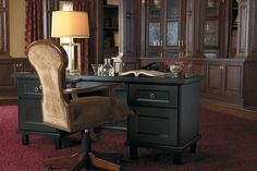 Home office and desk created with Medallion Cabinetry