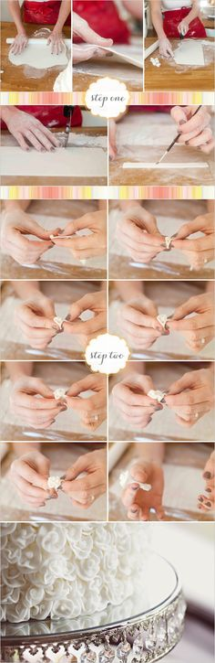 Step-by-step instructions on how to create fondant rose buds. Beautiful!