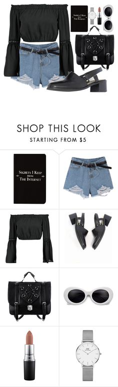 """""""Untitled #40"""" by butterflyonthewall ❤ liked on Polyvore featuring Rich and Damned, Boohoo, Mulo, MAC Cosmetics, Daniel Wellington and vintage"""