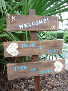 BEACH WEDDING directional sign w/ Seashells by ifTREEScouldTALK, $46.00 http://www.beachreunion.com/Weddings-Events.htm