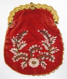 Superb Early 19th C Red Velvet Purse, Fish Scales