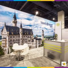 This incredible photo backdrop we built for TravelSmart uses Thunder – a post and beam architecture that can reach 20 feet in height and a span 150 feet or more.  #tradeshow #marketing #architecture #display #travel