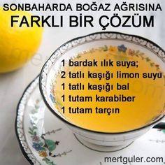 Sonbaharda Boğaz ağrısına farklı ve etkili bir çözüm: limon, bal, karabiber, tarçın. Denemelisiniz ❤️