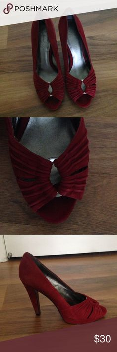 Jessica Simpson Red Suede Heels Jessica Simpson red suede heels, 4 inch heel. Some damage to bottom of heels, pictured. Jessica Simpson Shoes Heels