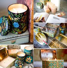 Le Frufrù: Scatoline di latta - Des bougies dans des vieilles boîtes