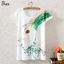 Moda simple white T-shirt mujer 2015 cabra o conejo camiseta impresa casual camisetas de mujeres harajuku la camiseta Femme(China (Mainland))