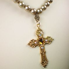 Anne Boleyn Topaz Cross Necklace