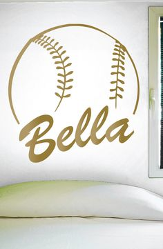 "Custom Softball Name Wall Decal - 0125 -- PRODUCT NO. 0125 -- -- When checking out, please type the name you want for your decal in the ""Phone optional"" tab when you fill out your contact information."
