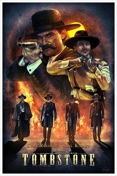 Tombstone Film Poster Design, Movie Poster Art, Billy Zane Movies, Tombstone Movie, Tombstone 1993, Tombstone Arizona, West Art, Pop Culture Art, Poster Prints