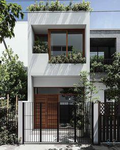 Narrow House Designs, Modern Small House Design, House Front Design, Minimalist House Design, Architecture Design, Facade Design, Door Design, Exterior Design, Modern Exterior House Designs