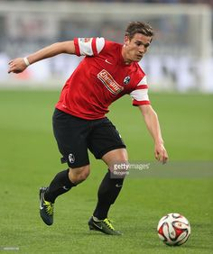 Oliver Sorg of Freiburg controls the ball during the Bundesliga match between Schalke 04 and SC Freiburg at Veltins Arena on April 11, 2015 in Gelsenkirchen, Germany.