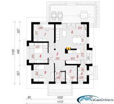 Proiecte de case mici fara etaj - optiunea ideala House Plans, Floor Plans, How To Plan, Architecture, Design, Arquitetura, House Floor Plans, Architecture Design