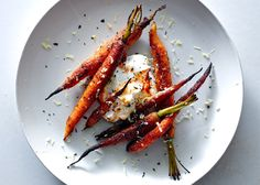 I won't make the yogurt but the carrots look amazing. Spice-Crusted Carrots with Harissa Yogurt - Bon Appétit Yogurt Recipes, Veggie Recipes, Vegetarian Recipes, Cooking Recipes, Healthy Recipes, Veggie Food, Yummy Recipes, Epicurious Recipes, Recipies