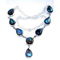 Tear Drop Necklace with Labradorite Gemstone, set in 925 Sterling Silver $260