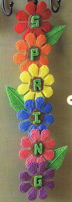 SPRING FLOWERS Wall ART - Plastic Canvas Pattern.