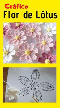 Flower Motif Pattern by Yukiko Kuro Japanese Craft Book - daily accessory knitting with corsage croc Crochet Video, Form Crochet, Crochet World, Crochet Diagram, Crochet Motif, Diy Crochet, Crochet Stitches, Crochet Bouquet, Crochet Daisy