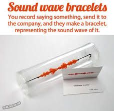 Sound wave bracelet. You record yourself saying something, send it to the company, and they make a bracelet in the shape of the sound waves you spoke. $18 OR A GREAT TATTOO IDEA