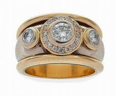 wide band diamond ring | stone diamond dress ring, the wide band centred with a… - Rings ...