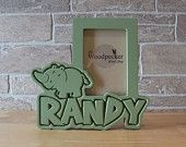 Safari or Jungle themed Rhino personalized picture frame for kids, by name, color and theme.  50+ designs at  WoodpeckerWoodShop on Etsy