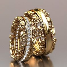 Indian Wedding Rings, Wedding Ring Bands, Gold Ring Designs, Gold Earrings Designs, Gold Jewelry Simple, Stylish Jewelry, Piercing Septum, Fashion Rings, Fashion Jewelry