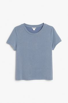 Monki Image 1 of Soft tee in Blue Dark