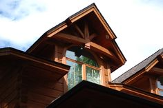 Timber Frame Accent on our Cambridge Home #TimberFrame #Log #Custom #Accent #Cambridge #DiscoveryDreamHomes