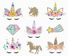 watercolor Unicorn Clipart. Unicorn Printable. Golden Unicorns