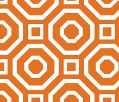 Geometry White on Tangerine fabric by aliciavance on Spoonflower - custom fabric