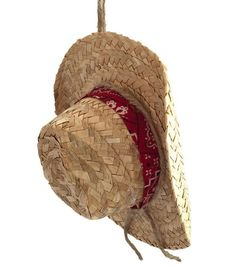 Cowboy Christmas Ornament - Straw Cowboy Hat with Bandana Band