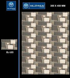 Ceramic #tiles as cladding for exterior walls are superior in design as in installation or price to all other materials.  EL_103 - Millennium Tiles 300x450mm (12x18) Digital Ceramic #Elevation 3D Design Tiles Series - Indoor & Outdoor use.  - Six Colour Technology: This six colour digital colour printing process uses CMYK inks plus a lighter shade of cyan (LC) and magenta (LM) to create more realistic tiles. #wallcladding #homeimprovement #architecture