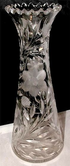 RP: Antique American Brilliant Cut Glass DAISY Crystal Vase - ebay.com